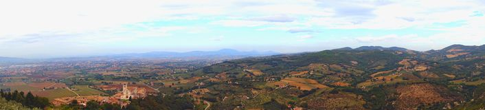 Panorama of Umbria in Italy stock photo