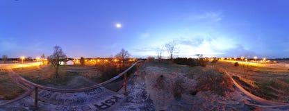 Panorama 360 - una vista dal tetto del bunker sulla via di Ugory a Torum la Polonia 2012 Fotografia Stock