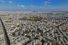 Panorama und Vogelperspektive von Paris, von Montparnasse-Turm Stockbilder