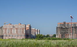 Panorama of under construction residential district. Royalty Free Stock Image