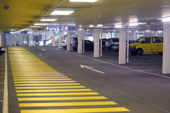 Panorama of underground parking Royalty Free Stock Photos