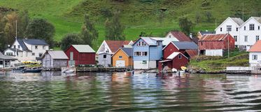 Panorama of Undredal. On the shore of Aurlandsfjord, Sognefjord, Norway Stock Photo