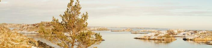 Panorama of undulating, rocky island shelf Stock Photo