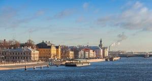 Panorama of The Universitetskaya Embankment, Petersburg Stock Photo