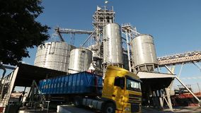 Panorama of unloading grain trucks at elevator on elevating hydraulic platform unloader. Grain crops transshipment at. Big sea terminal at seaport stock video