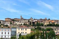 Panorama of upper city Citta Alta in Bergamo Stock Images