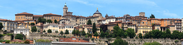 Panorama of upper city Citta Alta in Bergamo Royalty Free Stock Photos
