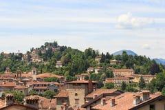 Panorama of upper city Citta Alta with hill San Vigilio in Bergamo Stock Image