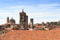 Panorama of upper city Citta Alta with towers in Bergamo Royalty Free Stock Photography