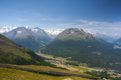 Panorama of the Upper Engadine from Muottas Muragl Royalty Free Stock Images