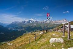 Panorama of the Upper Engadine from Muottas Muragl Royalty Free Stock Photo