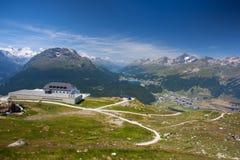 Panorama of the Upper Engadine from Muottas Muragl Stock Photography