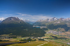 Panorama of the Upper Engadine from Muottas Muragl Stock Images