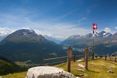 Panorama of the Upper Engadine from Muottas Muragl Stock Photos