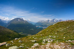 Panorama of the Upper Engadine from Muottas Muragl Royalty Free Stock Photos