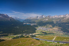 Panorama of the Upper Engadine from Muottas Muragl Royalty Free Stock Photography