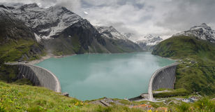 Panorama of upper Kaprun dam 1, Stauseen, Austria Stock Photography