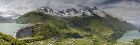 Panorama of upper Kaprun dams 2, Austria Stock Photo