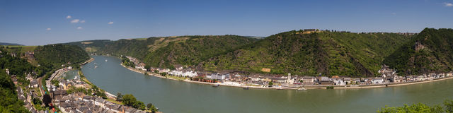 Panorama of the Upper Middle Rhine Valley near St. Goar Stock Image