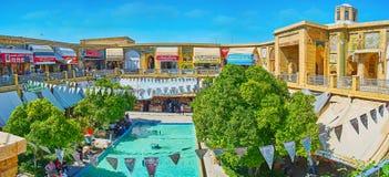 Panorama from the upper terrace of Saraye Moshir Bazaar, Shiraz, Iran. SHIRAZ, IRAN - OCTOBER 14, 2017: Panorama of the open air courtyard of Saraye Moshir royalty free stock photography