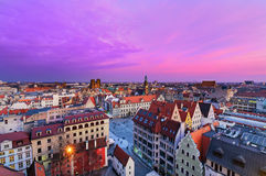 Panorama of urban buildings of the Wroclaw city after sunset, Po Stock Photo