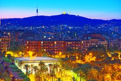 Panorama on the urban center of Barcelona, the capital of the Au Stock Photography
