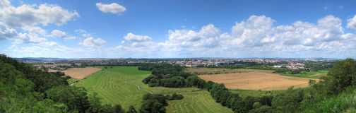 Panorama of urban landscape. Panorama of Pilsen and European landscape Stock Image