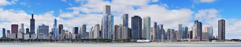 Panorama urbano da skyline da cidade de Chicago Imagens de Stock Royalty Free