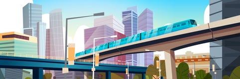 Panorama urbano moderno con los altos rascacielos y la bandera horizontal del fondo de la ciudad del subterráneo libre illustration
