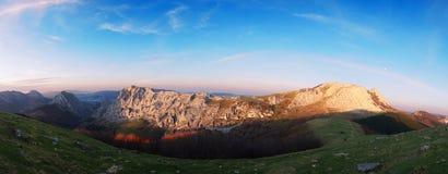 Panorama of Urkiola mountain range and Anboto peak Royalty Free Stock Photography