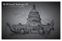 Panorama of the US Capitol at night. EPS10 vector illustration. Stock Photography