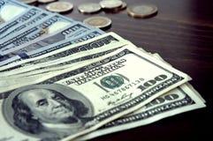 Panorama USA dolarów banknotów tekstura Tekstury USA dolary Tło różni mili dolarowi rachunki, metalu pieniądze zdjęcia royalty free