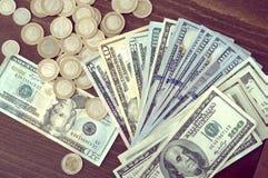 Panorama USA dolarów banknotów tekstura Tekstury USA dolary Tło różni mili dolarowi rachunki, metalu pieniądze zdjęcie stock