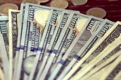 Panorama USA dolarów banknotów tekstura Tekstury USA dolary Tło różni mili dolarowi rachunki, metalu pieniądze zdjęcia stock