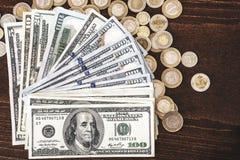 Panorama USA dolarów banknotów tekstura Tekstury USA dolary Tło różni mili dolarowi rachunki, metalu pieniądze fotografia stock