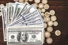 Panorama USA dolarów banknotów tekstura Tekstury USA dolary Tło różni mili dolarowi rachunki, metalu pieniądze obraz stock
