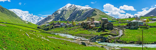 Panorama of Ushguli Royalty Free Stock Image
