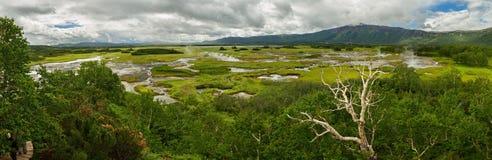 Panorama of Uzon Caldera. Kronotsky Nature Reserve Stock Photo