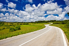 panorama- väg för inlands- istria Arkivbilder
