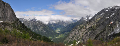 Panorama of Val Bregaglia Stock Images