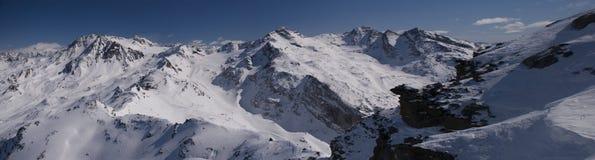 Panorama Val Thorens lizenzfreie stockfotos