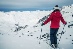 Panorama of Val Thorens with skier Stock Image