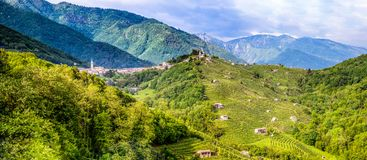 Panorama of the Valdobbiadene wine region Royalty Free Stock Images