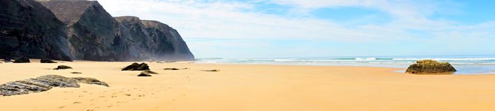 Panorama from Vale Figueiras beach in Portugal Stock Photography
