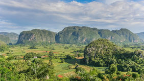 Panorama of Valle Vinales in the west of Cuba Stock Photo