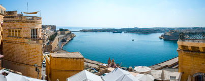 Panorama of Valletta bay, Malta Royalty Free Stock Image