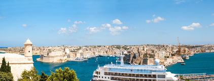 Panorama of Valletta with dock, Malta Stock Image