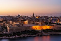 Panorama of Valletta and Fort Manoel, Malta. Valletta, often incorrectly La Valletta, is the capital city of the island state Malta lying on the east coast Royalty Free Stock Photos