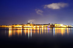 The panorama of Valletta in night illumination Royalty Free Stock Photos