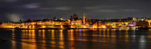 Panorama of Valletta at night Royalty Free Stock Photo
